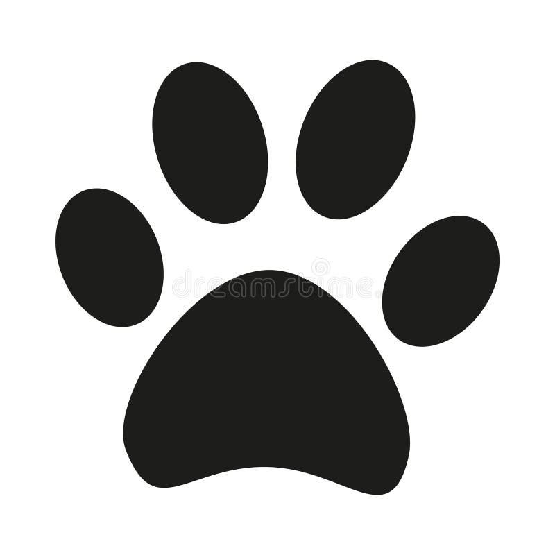 Silhueta preto e branco da pegada da pata do gato ilustração do vetor