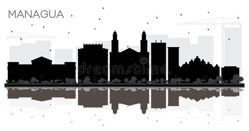 Silhueta preto e branco da skyline da cidade de Managua Nicarágua com R ilustração do vetor