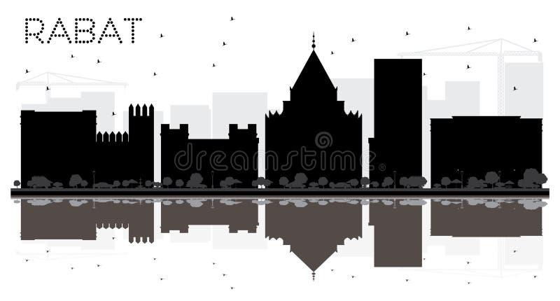 Silhueta preto e branco da skyline da cidade de Rabat Marrocos ilustração royalty free