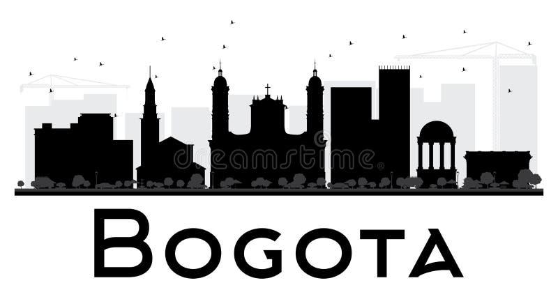 Silhueta preto e branco da skyline da cidade de Bogotá ilustração stock