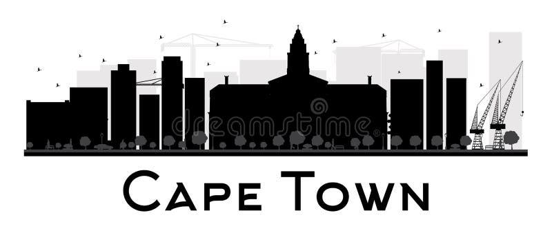 Silhueta preto e branco da skyline da cidade de Cape Town ilustração stock