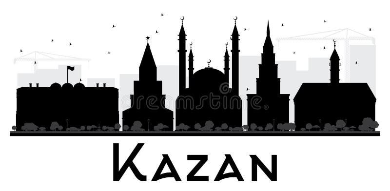 Silhueta preto e branco da skyline da cidade de Kazan ilustração do vetor