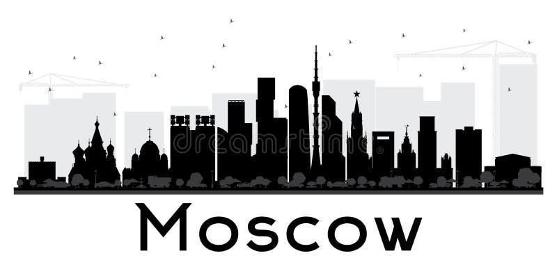 Silhueta preto e branco da skyline da cidade de Moscou ilustração royalty free