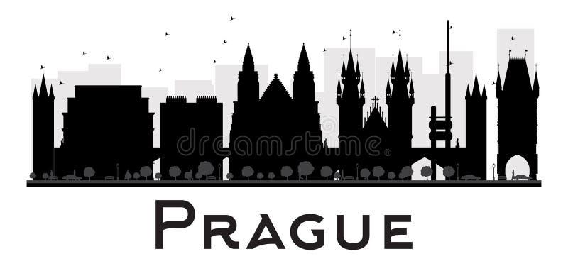 Silhueta preto e branco da skyline da cidade de Praga ilustração do vetor