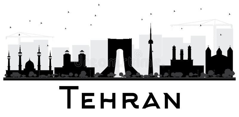 Silhueta preto e branco da skyline da cidade de Tehran ilustração stock