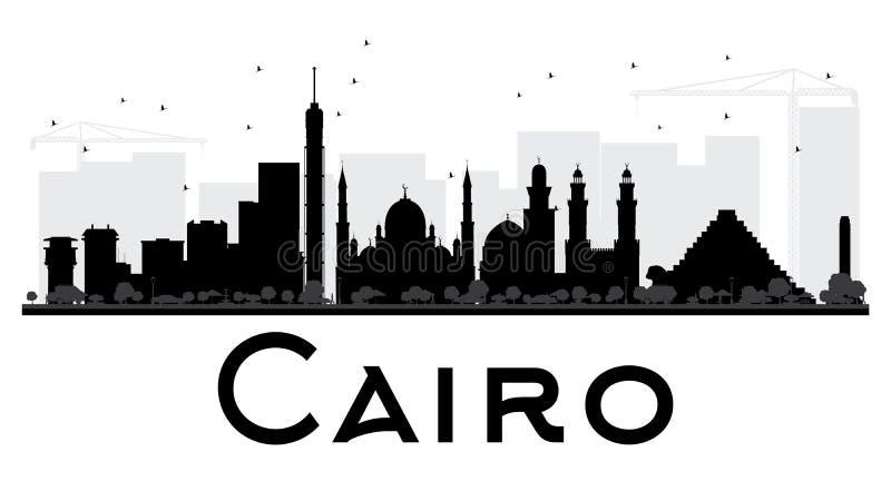 Silhueta preto e branco da skyline da cidade do Cairo ilustração stock