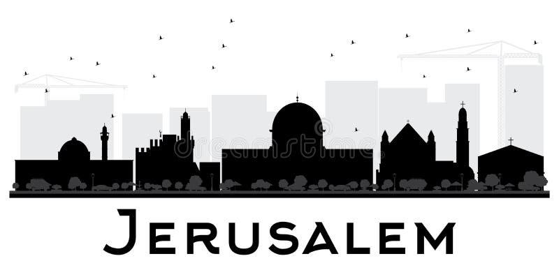 Silhueta preto e branco da skyline da cidade do Jerusalém ilustração stock