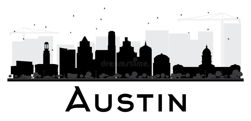 Silhueta preto e branco da skyline de Austin City ilustração stock