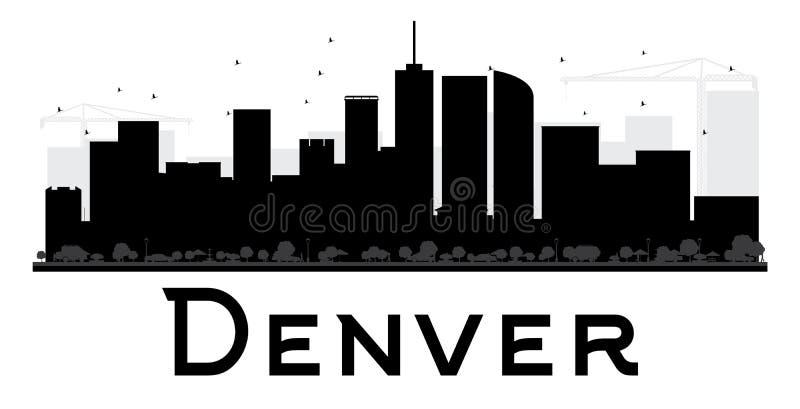Silhueta preto e branco da skyline de Denver City ilustração royalty free