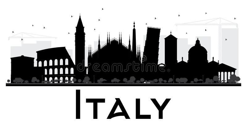 Silhueta preto e branco da skyline de Itália ilustração do vetor