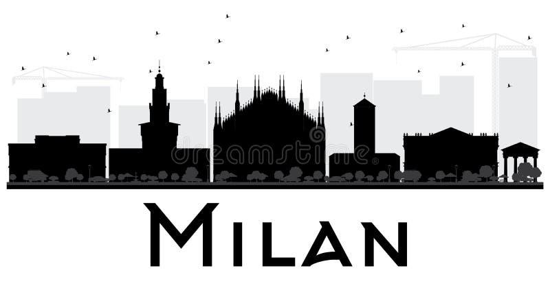 Silhueta preto e branco da skyline de Milan City ilustração stock