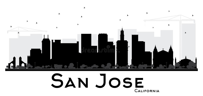 Silhueta preto e branco da skyline de San Jose California City ilustração stock