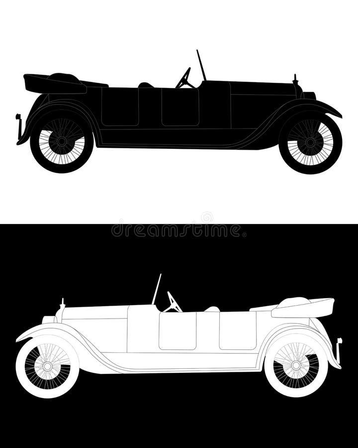 Silhueta preto e branco de um carro fotografia de stock