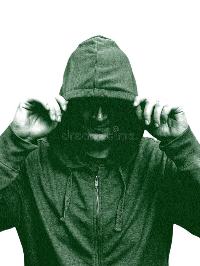 Silhueta preto e branco de um homem encapuçado, isolada no fundo preto creativo Efeito da exposição dobro Isolado da silhueta ilustração royalty free