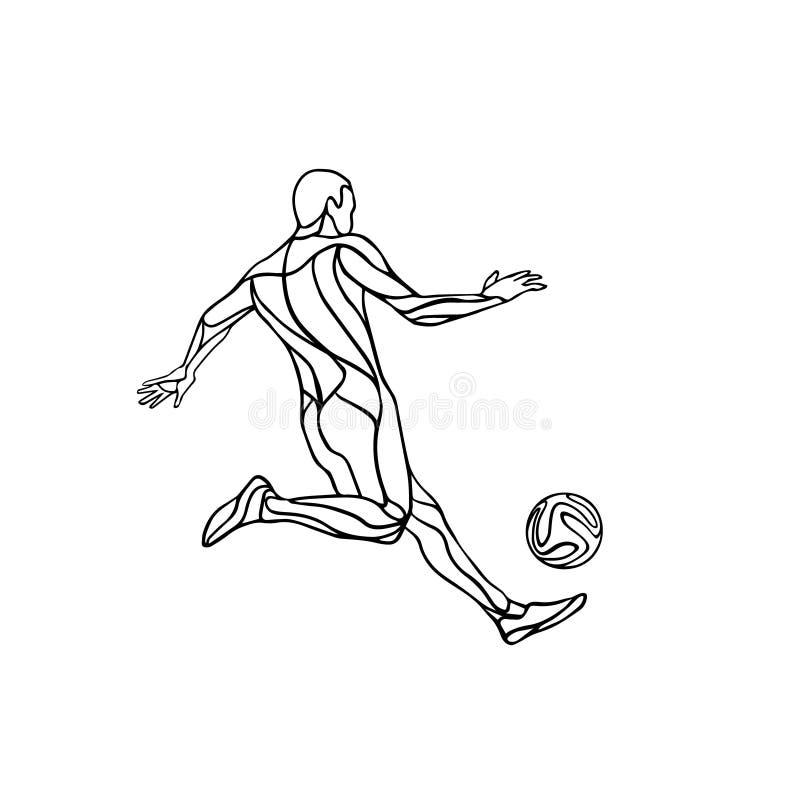 Silhueta preto e branco do jogador do futebol ou de futebol com bola ilustração royalty free