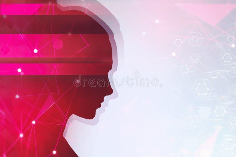 Silhueta principal da mulher vermelha, rede imagem de stock royalty free