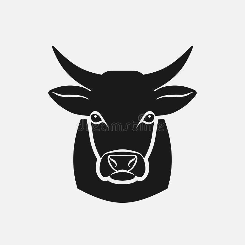 Silhueta principal da vaca Ícone do animal de exploração agrícola ilustração royalty free