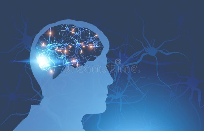 Silhueta principal do homem com sinapses de incandescência do cérebro ilustração royalty free
