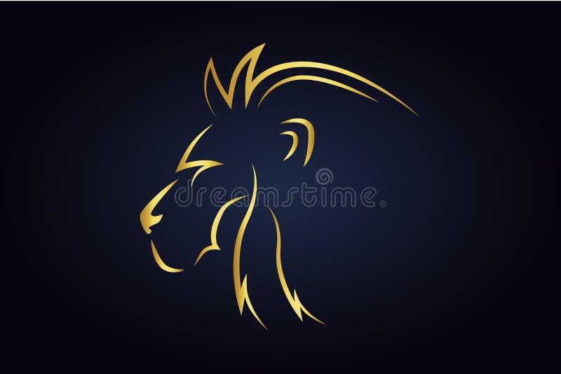 Silhueta principal do leão do rei girada para o lado esquerdo ilustração stock