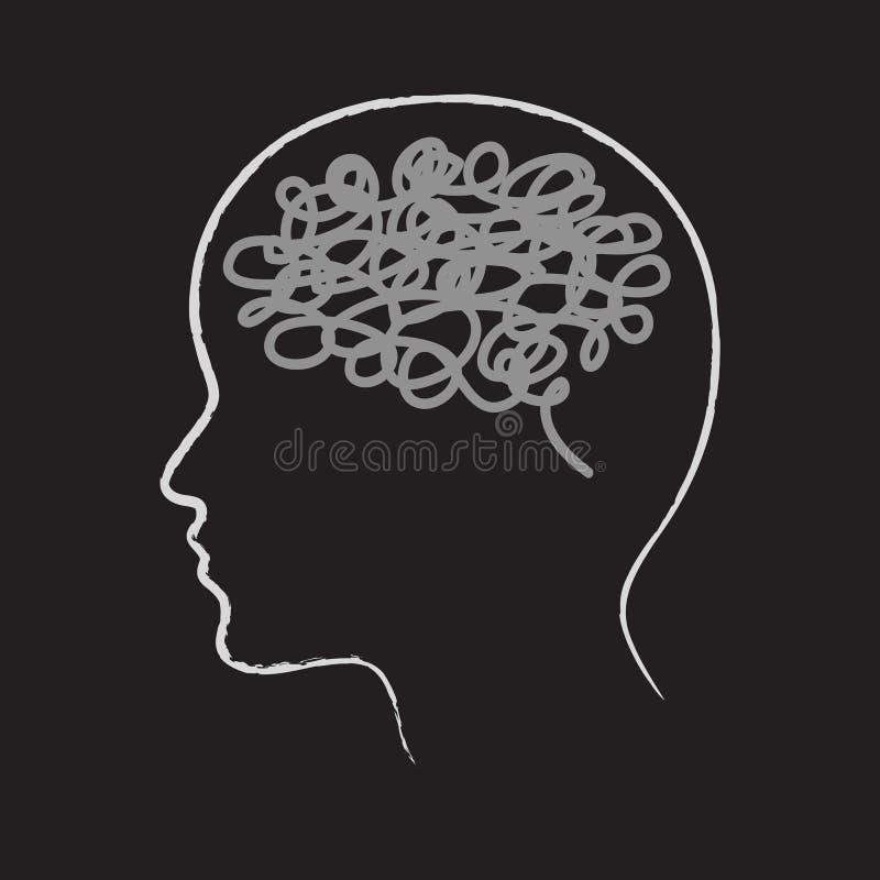 Silhueta principal e pensamentos confusos ilustração stock