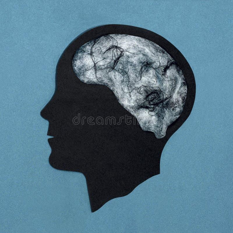 Silhueta principal estilizado Web em vez do cérebro Símbolo da melancolia, depressão imagem de stock royalty free