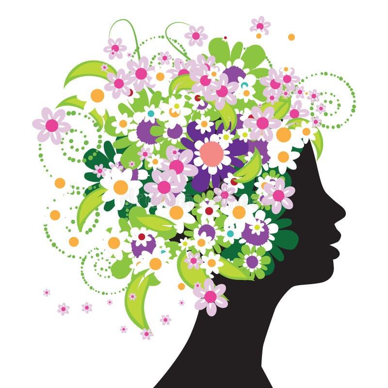 Silhueta principal floral ilustração do vetor