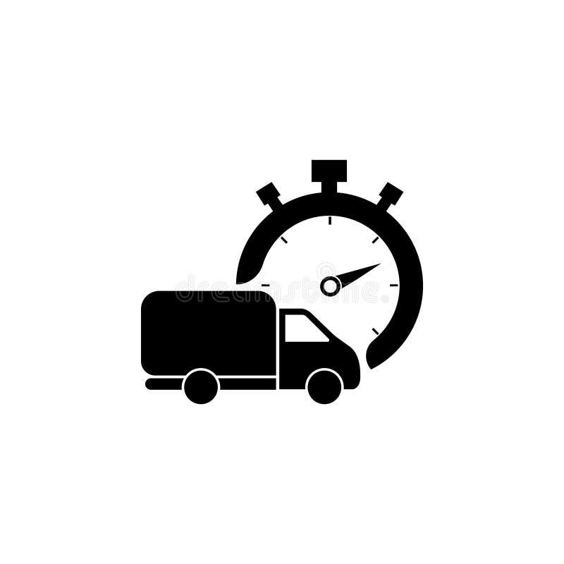 Silhueta rápida do ícone da entrega caminhão do transporte isolado Vetor ilustração stock