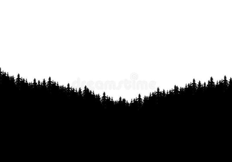 Silhueta realística de partes superiores da floresta e da árvore Isolado no fundo branco com espaço para o texto, vetor ilustração royalty free