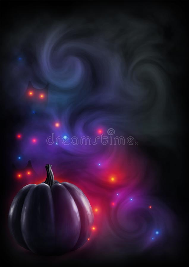 Silhueta realística preta da abóbora no fundo fumarento escuro com luzes vermelhas místicos e olhos Cartão do vetor ilustração stock