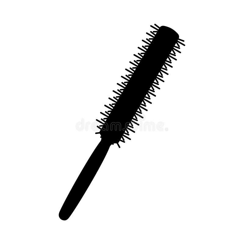 Silhueta redonda fina preto e branco do pente ilustração royalty free