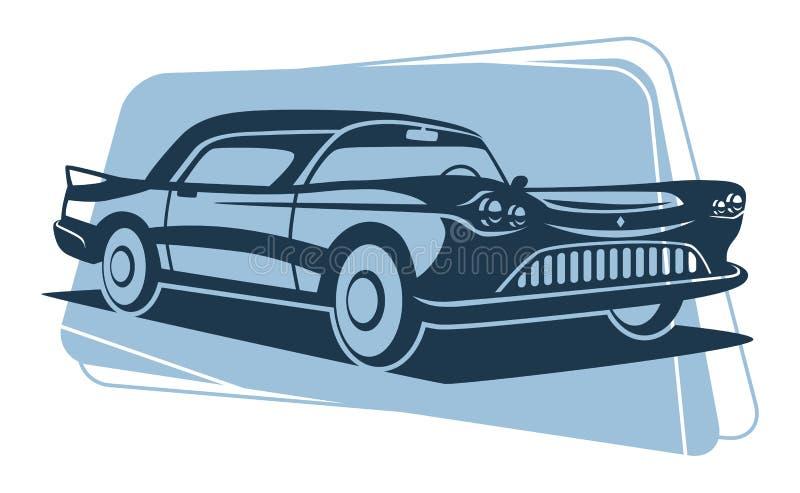 Silhueta retro do carro ilustração royalty free