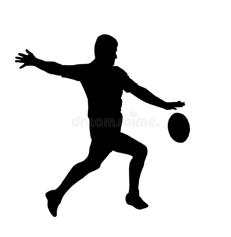 Silhueta - retrocesso de funcionamento do rugby para o toque ilustração stock