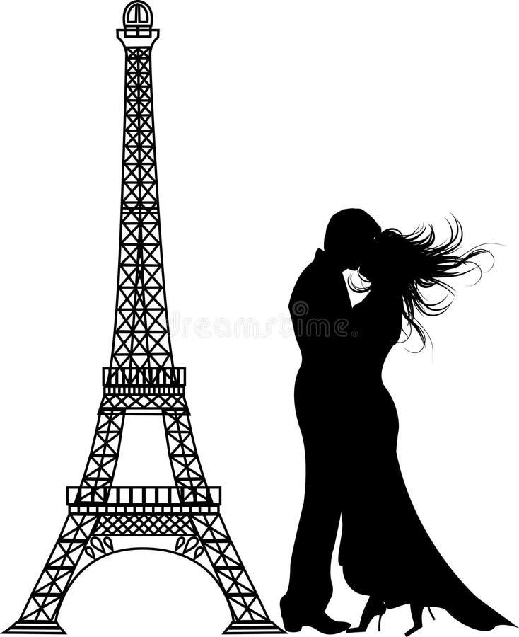A silhueta romance de Paris ilustração do vetor