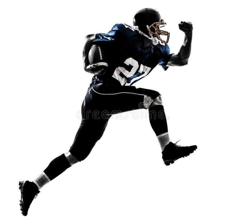 Silhueta running do homem do jogador de futebol americano imagens de stock