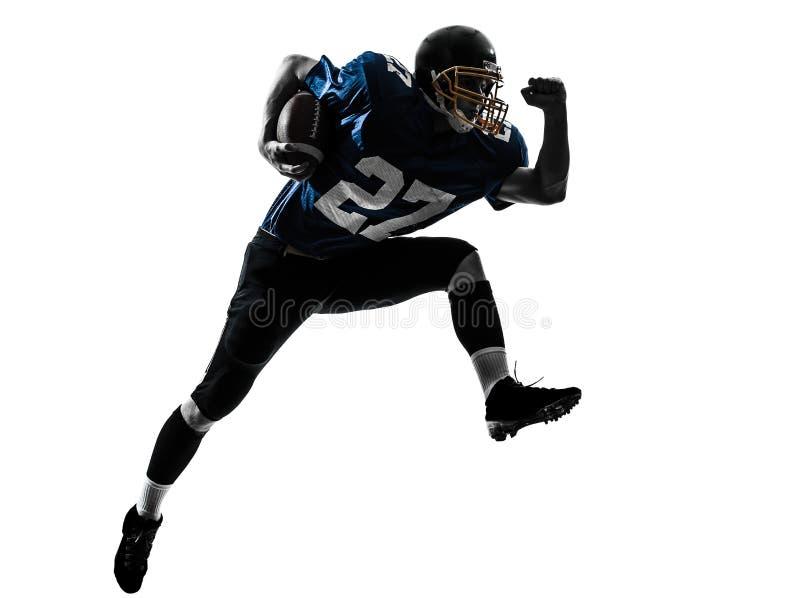 Silhueta running do homem do jogador de futebol americano imagem de stock