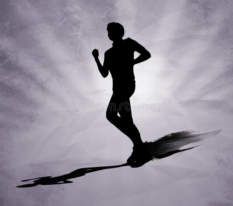 Silhueta running do preto do homem no fundo cinzento ilustração royalty free