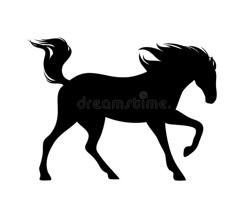 Silhueta running do vetor do preto do cavalo do mustang ilustração royalty free