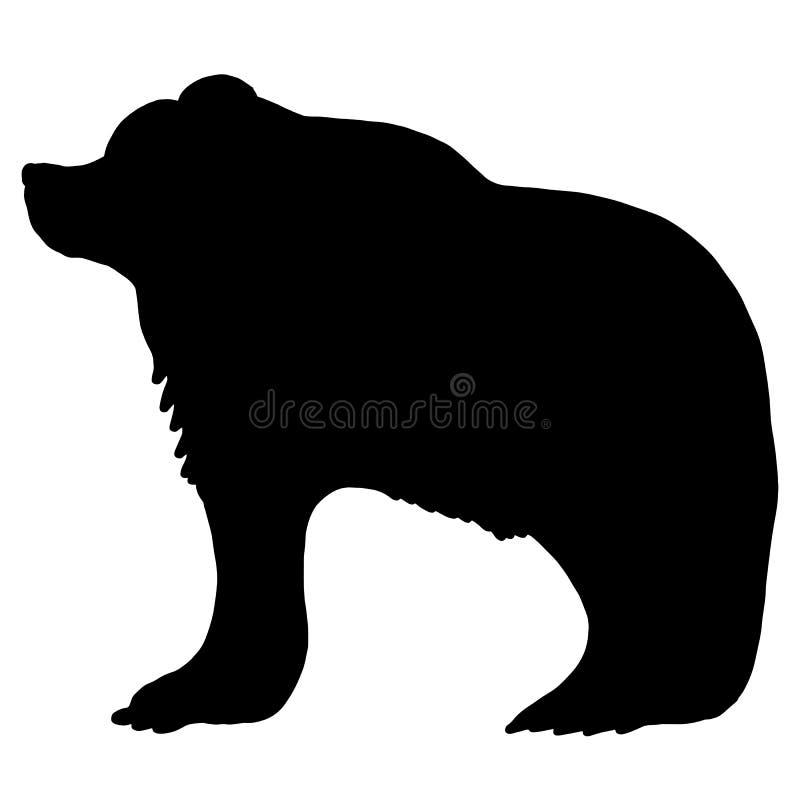 Silhueta selvagem corajoso do urso ilustração stock