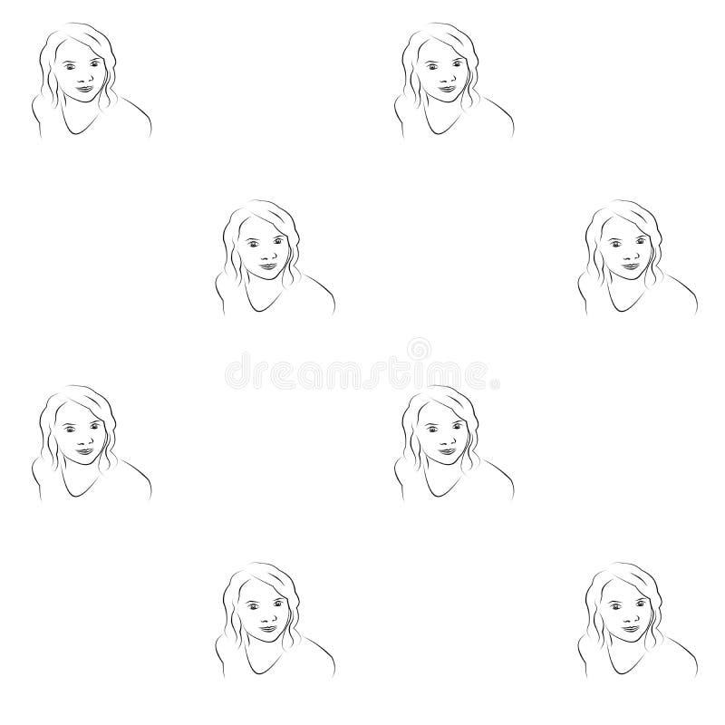 Silhueta sem emenda dos contornos do preto do teste padr?o da cara da menina no fundo branco ilustração royalty free