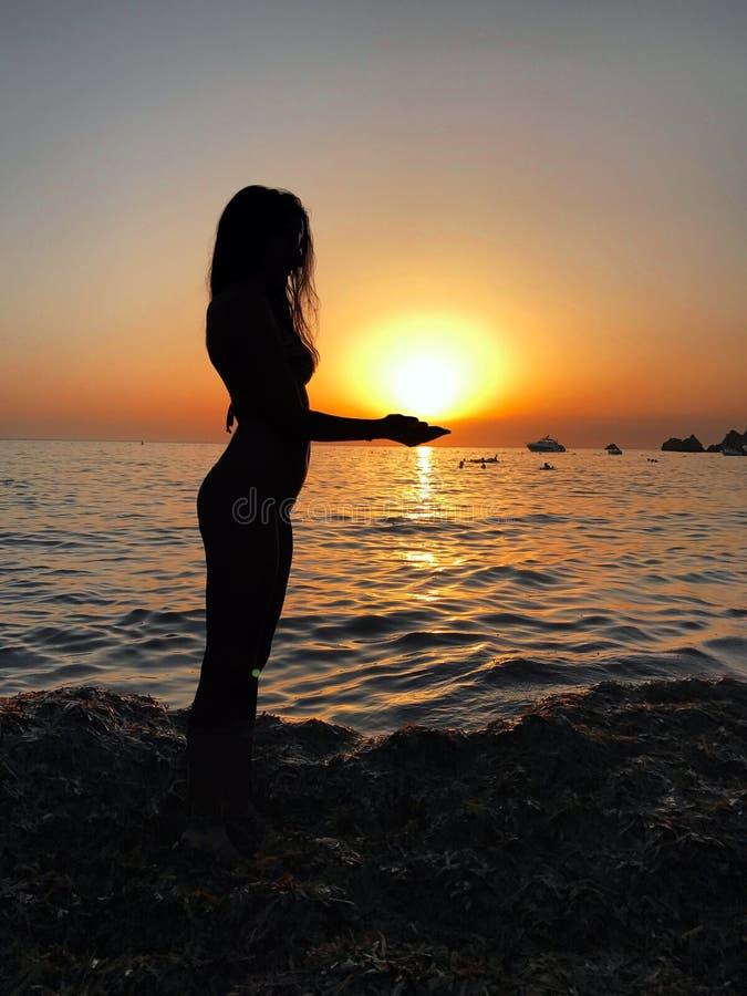 Silhueta 'sexy' da jovem mulher em um Sandy Beach durante um por do sol foto de stock