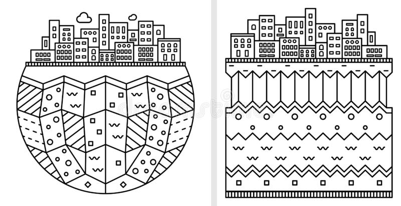 Silhueta simples da cidade Camadas da terra Ilustração linear isolada no fundo branco Projeto liso Ícone dos desenhos animados ilustração stock