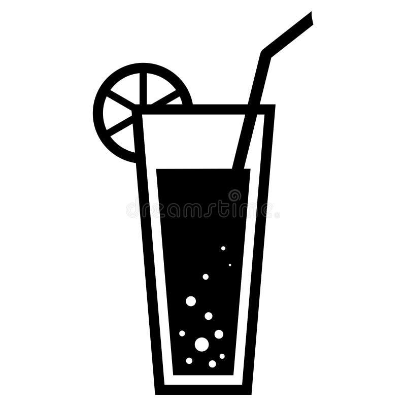 Silhueta simples, preta de um cocktail/bebida com uma fatia do limão e uma palha ilustração do vetor