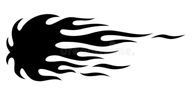 Silhueta tribal da chama do carro do músculo do hotrod isolada no fundo branco ilustração do vetor
