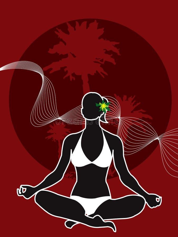 Silhueta tropical da menina da ioga ilustração stock