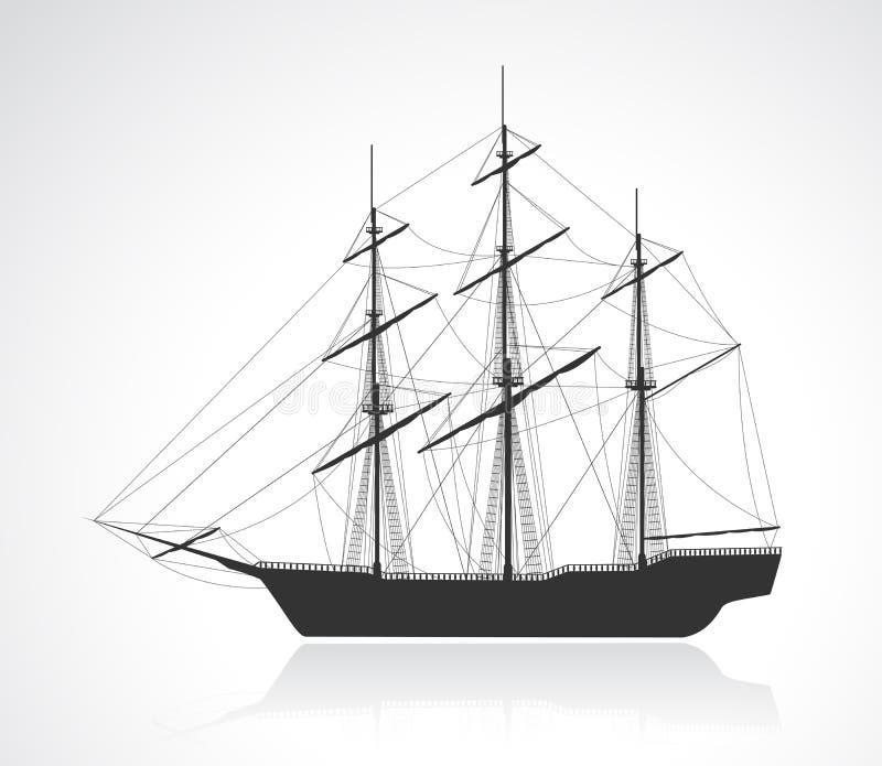 Silhueta velha preta do navio de navigação ilustração do vetor