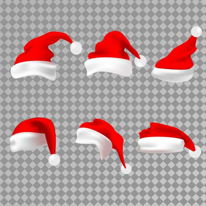 Silhueta vermelha do chapéu de Santa Claus Santa Hat Ilustração do vetor ilustração stock