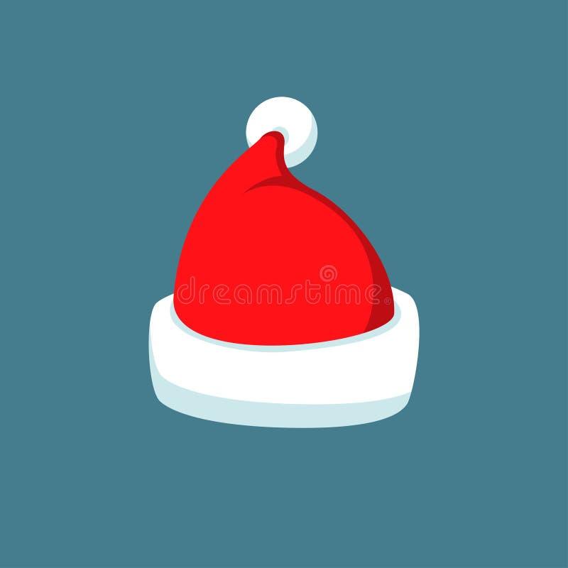 Silhueta vermelha do chapéu dos desenhos animados de Santa Claus no estilo liso isolada no fundo azul Decoração 2016 do símbolo d ilustração do vetor