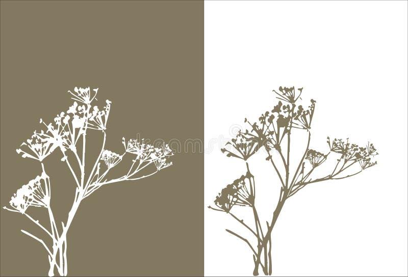 Silhueta/vetor da grama ilustração stock