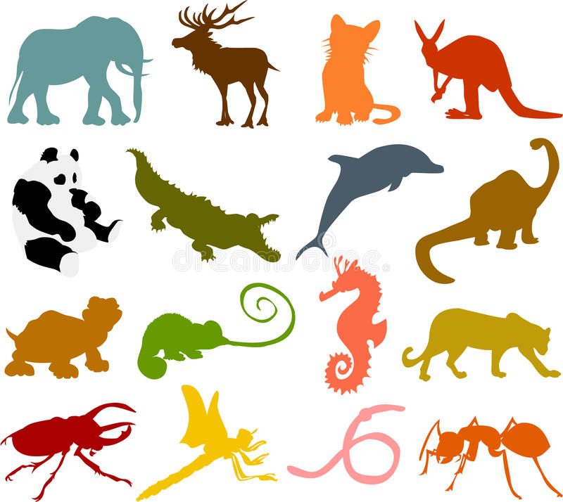 Silhuetas 02 do animal ilustração royalty free