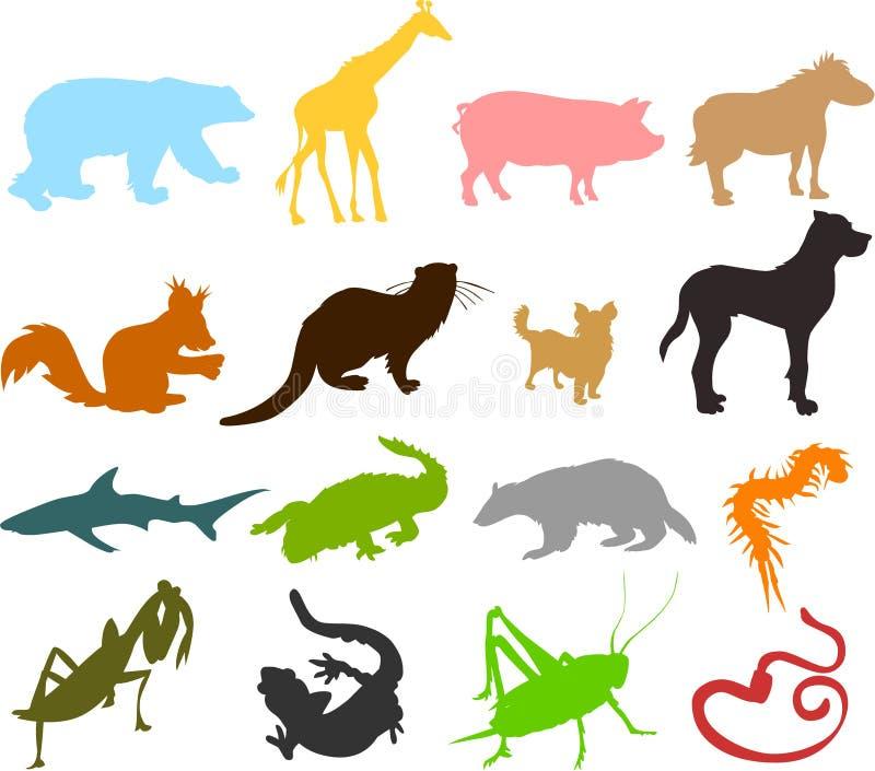 Silhuetas 03 do animal ilustração do vetor
